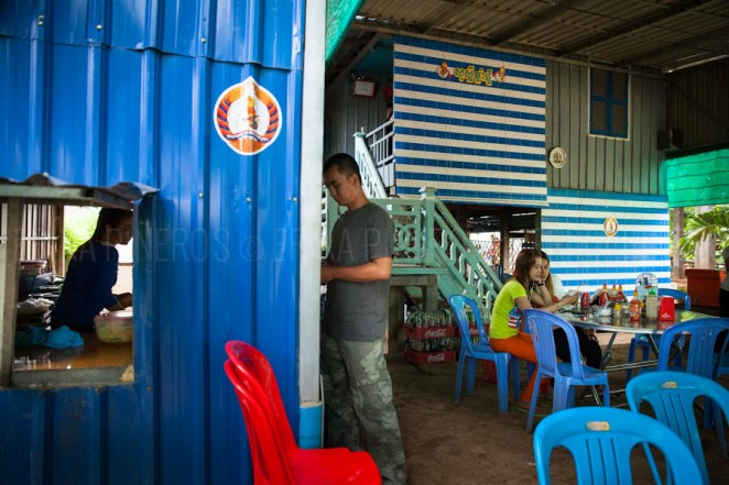 A ruling party CPP heavily branded restaurant in the outskirts of Cambodia's capital Phnom Penh. Jul. 27, 2013. ©Erika Pineros