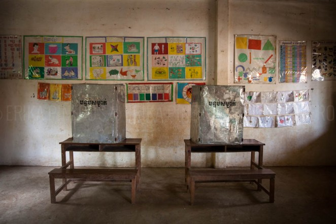 Voting booths in classroom  in rural Cambodia. Jul. 27, 2013 ©Erika Pineros
