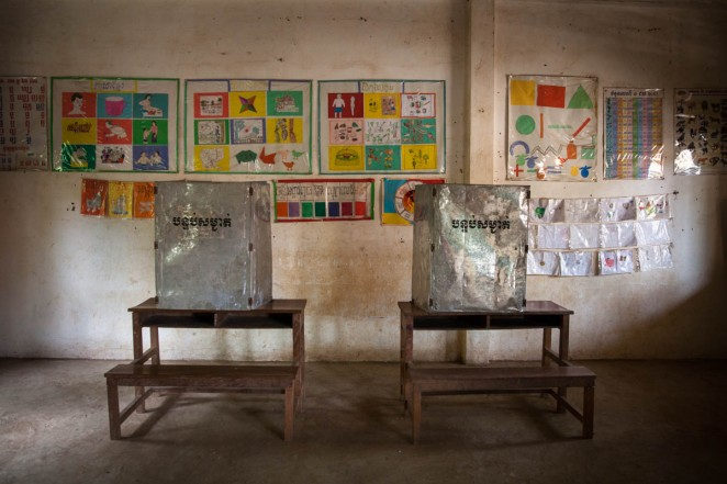 Voting booths in a public school ahead of national elections in rural Cambodia. Jul. 27, 2013 ©Erika Pineros