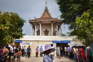 Voting stations located at Dom Bok Kpous Pagoda in Phnom Penh's Meanchey District.