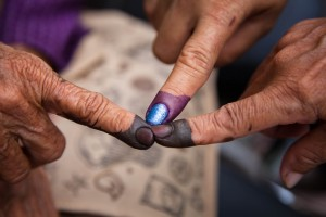 Different kinds of 'indelible'  ink were used at different voting stations. Voters complained the purple ink came off easily after washing it off.