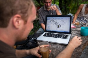 ADF's Cartographer Stéphane De Greef shows the mapping process and outcomes revealed by LIDAR technology at Phnom Kulen, Siem Reap Province, Cambodia.