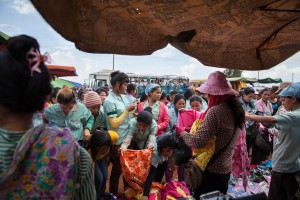Garment workers are seeing shopping for cheap clothes outside the factory at the end of their shift. Cambodia's garment sector employs more than 650,000 people. Most of them, women.