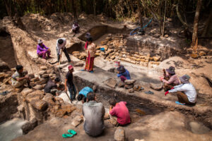 A team of international and local archaeologists during an excavation in Phnom Kulen. Siem Reap Province, Cambodia.